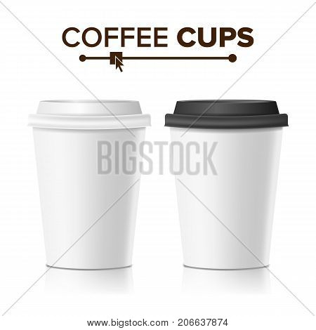 Realistic Paper Cup Vector. Cafe Latte, Mocha, Cappuccino Cup Mock Up. Isolated Illustration