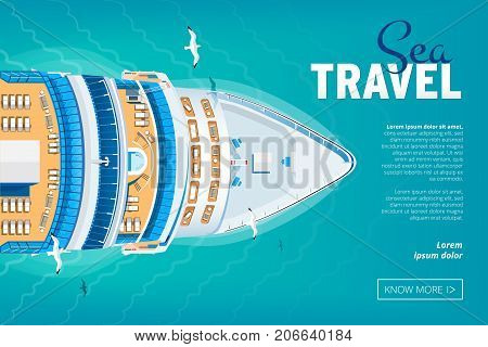Colorful Travel to Paradise. Cruise liner. Best cruise. Vector flat banner for your business