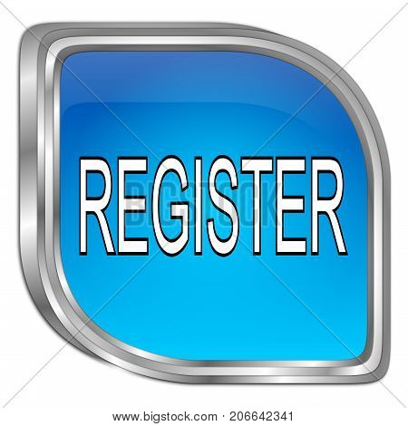 glossy blue Register Button - 3D illustration