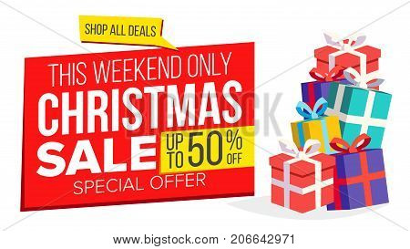 Christmas Sale Banner Template Vector. Xmas Big Sale Offer. For Xmas Banner, Brochure, Poster, Discount Offer Advertising. Isolated