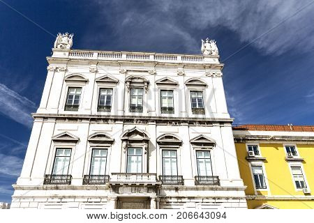 The West Tower is part of the set of buildings that form Commerce Square which was designed after the earthquake in 1755 on the same space previously occupied by Terreiro do Paco Lisbon Portugal.
