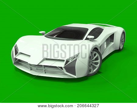 Conceptual high-speed white sports car. Green uniform background. Glare and softer shadows. 3d rendering