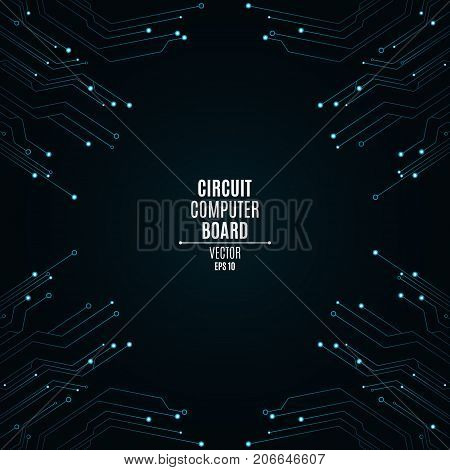 Background from a computer board with luminous blue connectors. Circuit computer board. High-tech neon network connection lines. Banner from the computer board. Vector illustration