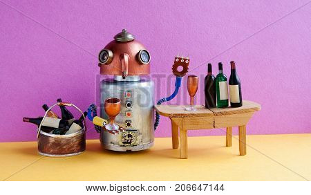 Wine bar party event concept. Funny robot alcoholic drink wine. Creative design copper head cyborg toy gets drunk. Wooden table, bucket with bottles, pink wall yellow floor room interior