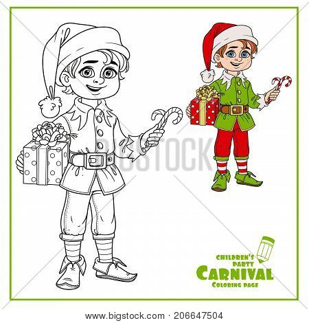 Cute Boy In Elf Santa's Assistant Costume Color And Outlined For Coloring Page