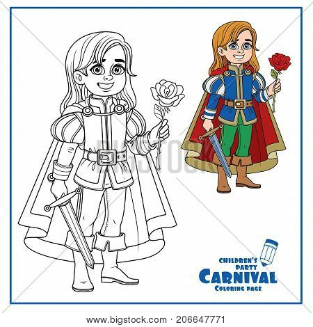 Cute Boy In Prince Charming Costume Outlined For Coloring Page