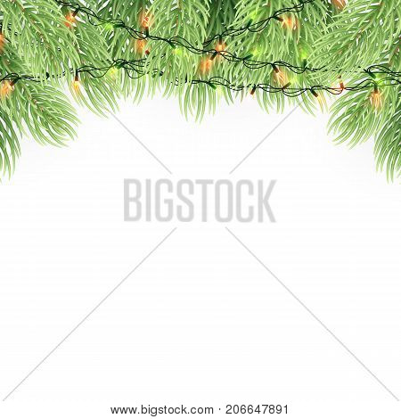 Christmas ornament background design element. Glowing lights Garlands Christmas tree decorations. Christmas garland realistic Vector illustration.