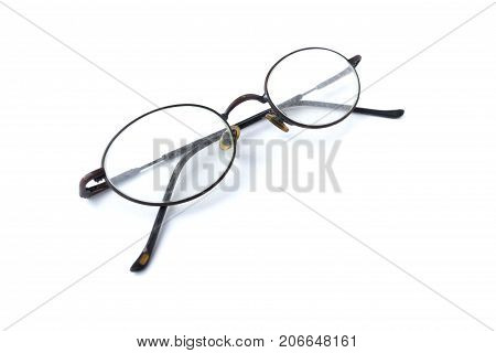 Old glasses with simple design isolated on white background