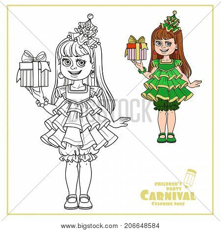 Cute Girl In New Year Tree Dress With A Gift In Hand Color And Outlined For Coloring Page