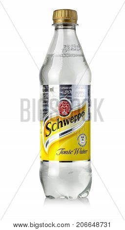 CHISINAU MOLDOVA - November14 2015: Bottle of Schweppes taste ofTonic Water isolated on white. The Dr Pepper Snapple Group is the current owner of the Schweppes trademark.