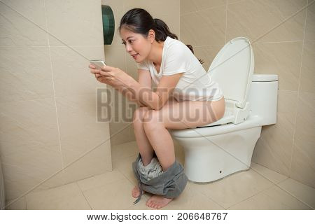 Leisurely Happy Lady Using Mobile Smart Phone
