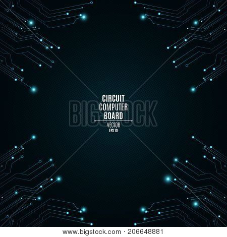 Background from a computer board with luminous blue connectors. Circuit computer board. The pattern of the grid. High-tech neon network connection lines. Vector illustration