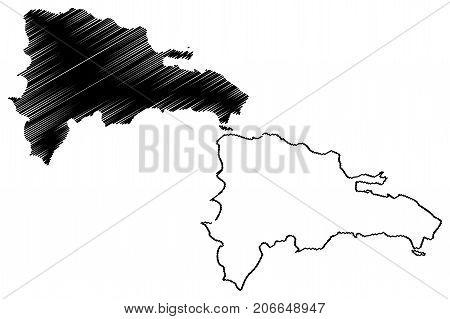 Dominican Republic map vector illustration , scribble sketch Dominican Republic
