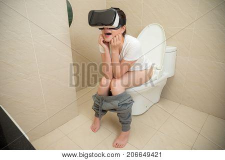 Smiling Girl At Home Wearing Virtual Reality