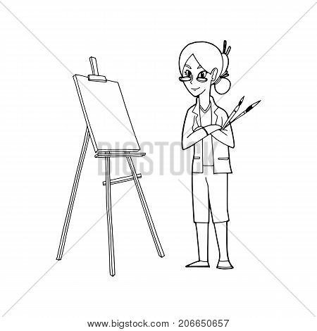 an Artist holding paint brushes and Easel canvas for painting vector illustration.