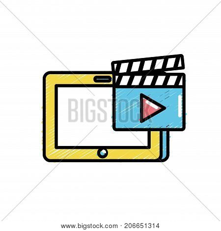 tablet technology with clapperboard video icon vector illustration