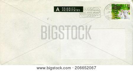 GOMEL, BELARUS - AUGUST 12, 2017: Old envelope which was dispatched from Switzerland to Gomel, Belarus, August 12, 2017.