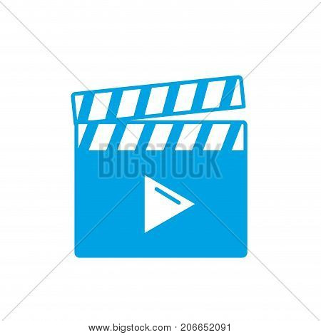 silhouette clapperboard with video movie studio icon vector illustration