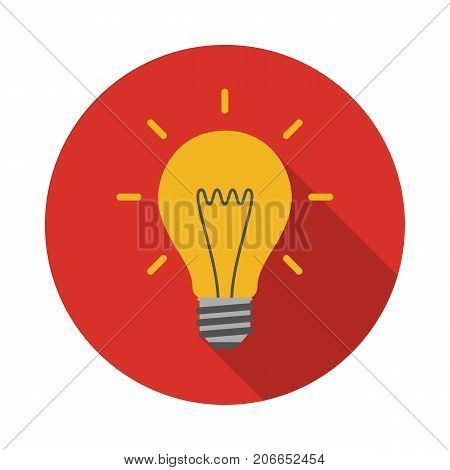 Light bulb circle icon with long shadow. Flat design style. Light bulb simple silhouette. Modern minimalist round icon in stylish colors. Web site page and mobile app design vector element.