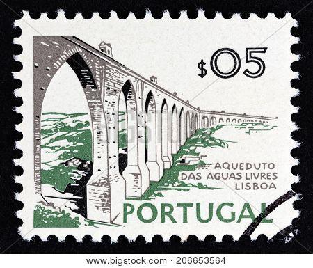 PORTUGAL - CIRCA 1973: A stamp printed in Portugal shows Aguas Livres Aqueduct, Lisbon, circa 1973.
