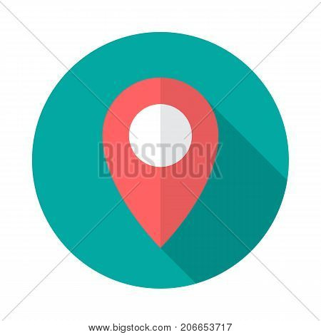 Map pointer circle icon with long shadow. Flat design style. Map pointer simple silhouette. Modern minimalist round icon in stylish colors. Web site page and mobile app design vector element.