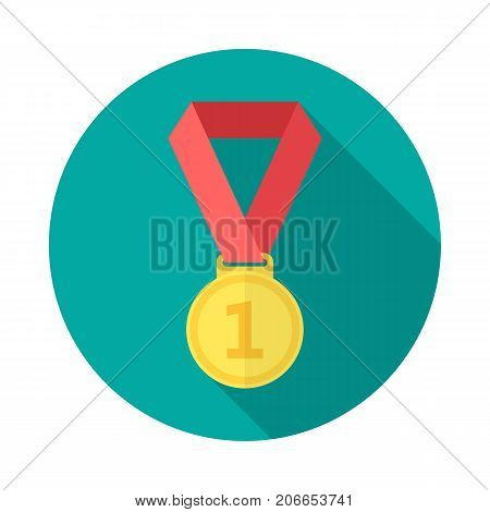 Gold medal circle icon with long shadow. Flat design style. Gold medal simple silhouette. Modern minimalist round icon in stylish colors. Web site page and mobile app design vector element.