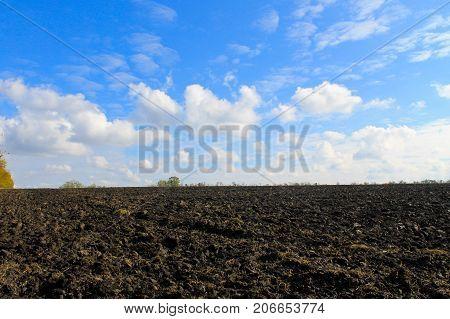 Plowed Field On Autumn