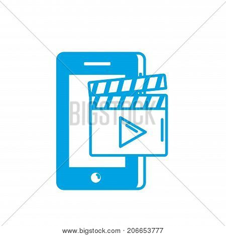 silhouette smartphone technology with clapperboard video vector illustration