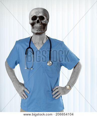 Senior male doctor with stethoscope in medical scrubs but with bone skull for head to illustrate healthcare issues