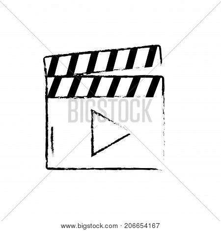figure clapperboard with video movie studio icon vector illustration
