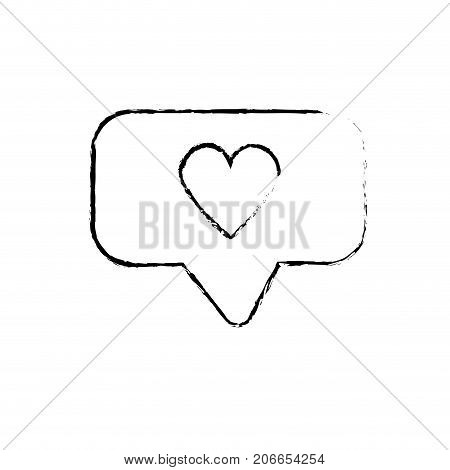 figure chat bubble with heart design inside vector illustration
