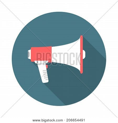 Megaphone circle icon with long shadow. Flat design style. Megaphone simple silhouette. Modern minimalist round icon in stylish colors. vector element.