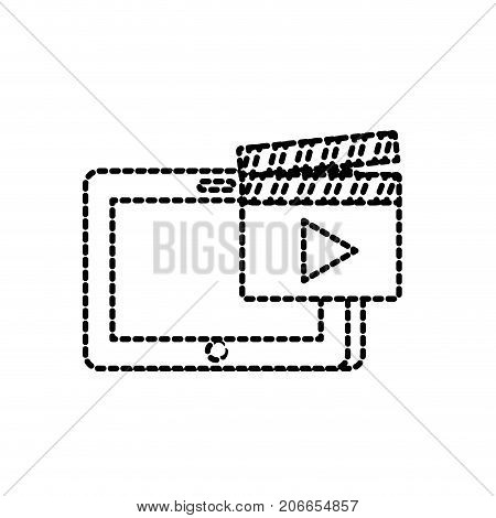 dotted shape tablet technology with clapperboard video icon vector illustration