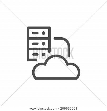 Cloud hosting line icon isolated on white. Vector illustration