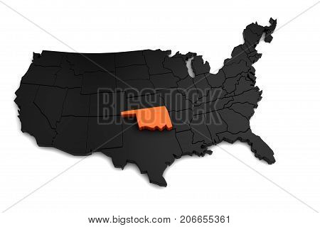 United States of America, 3d black map, with Oklahoma state highlighted in orange. 3d render