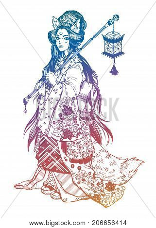 Beautiful demon kitsune as geisha in ornate ethnic floral kimono, cute lantern. Geisha portret anime style. Japan. Asia. Asian beauty. Magic tattoo art, coloring books. Isolated vector illustration.