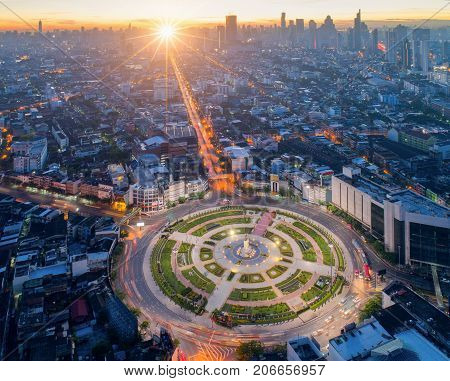 Bangkok city view point from rooftop of building in the Bangkok city downtown in blue sky and city light Bangkok is the most populated city in Southeast Asia. Bangkok Thailand poster