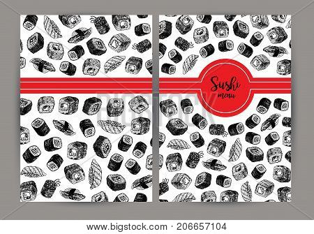 Hand drawn cover with sushi. Sushi menu design. Vector background with sketches. Vintage rolls. Linear graphic design. Black and white Japanese food. Vector illustration.