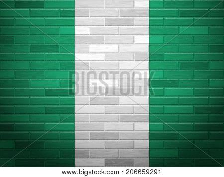 Nigeria flag on textured brick wall. Vector illustration.