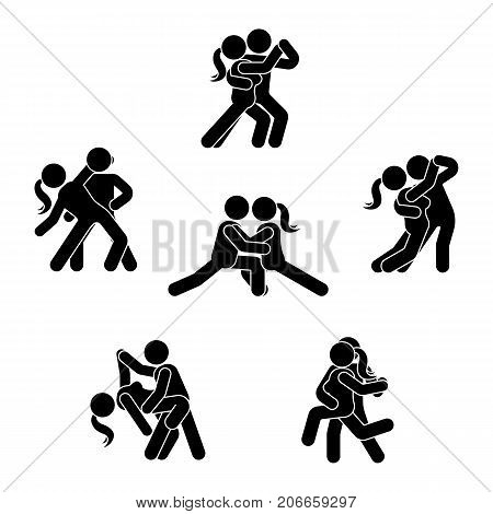 Stick figure dancing couple set. Man and woman in love illustration on white. Boyfriend and girlfriend kissing hugging cuddling and holding hand pictogram