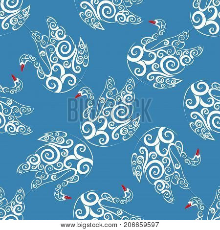 White swan with blue bacground, vector seamless repeat pattern, detailed illustration, hand drawn, great for fabric and textile, prints, invitation, packaging, greeting cards or any desired idea.