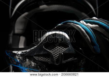 Motocross Helmet And Gloves.