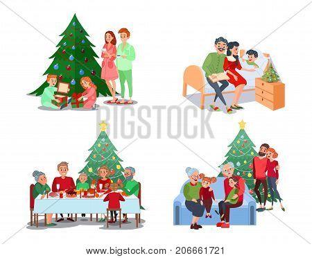 Christmas Family Scenes. Children Open Presents. Family Christmas Dinner. Grandparents with Grandchildren. Vector illustration