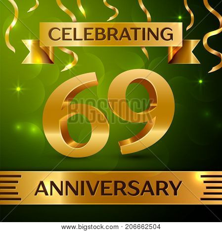 Realistic Sixty nine Years Anniversary Celebration Design. Confetti and gold ribbon on green background. Colorful Vector template elements for your birthday party. Anniversary ribbon