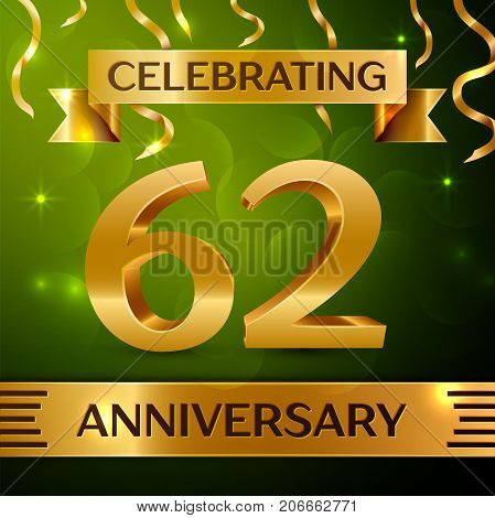 Realistic Sixty two Years Anniversary Celebration Design. Confetti and gold ribbon on green background. Colorful Vector template elements for your birthday party. Anniversary ribbon