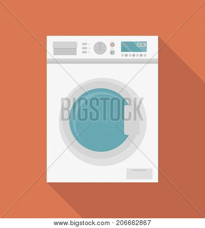 Modern washing machine, front view. Washer. Equipment for washing clothes. Household appliances. Isolated icon with long shadow. Vector illustration in flat style.