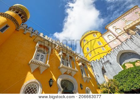 National Palace of Pena. Unesco Heritage Site in Sintra, Portugal. Architecture background. Bottom view.