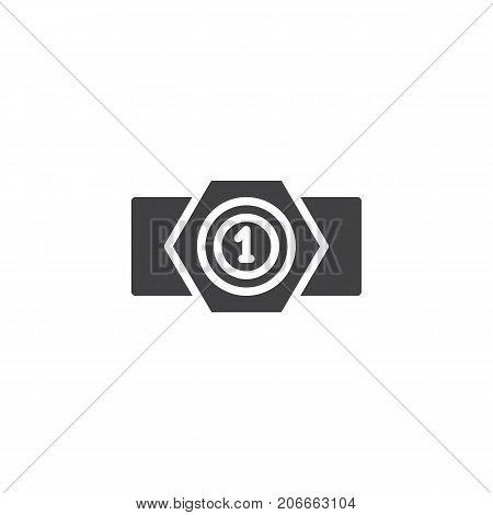 Champion belt icon vector, filled flat sign, solid pictogram isolated on white. Symbol, logo illustration.