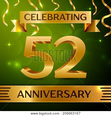 Realistic Fifty two Years Anniversary Celebration Design. Confetti and gold ribbon on green background. Colorful Vector template elements for your birthday party. Anniversary ribbon