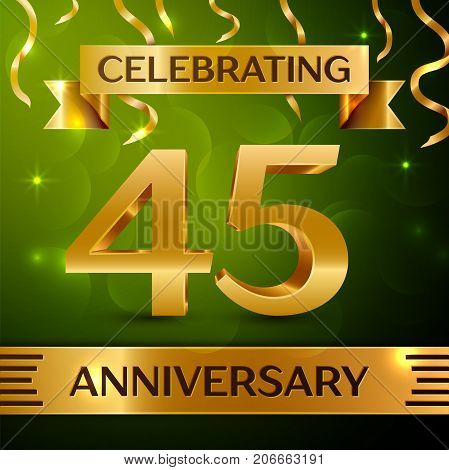 Realistic Forty five Years Anniversary Celebration Design. Confetti and gold ribbon on green background. Colorful Vector template elements for your birthday party. Anniversary ribbon